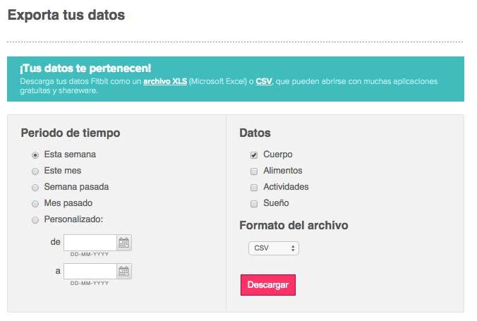 Fitbit Aria - Exportar datos