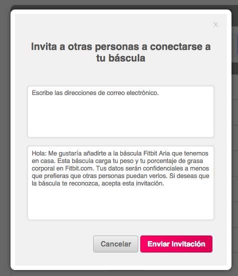 Fitbit Aria - Invitar usuario