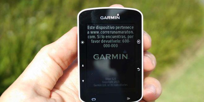 Garmin 520 mensaje de inicio