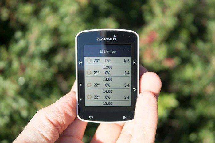 Garmin Edge 520 - Predicción del tiempo por horas
