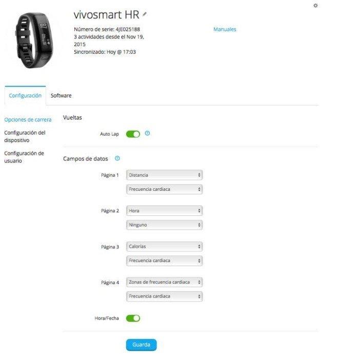 Garmin Vivoactive HR - Configuración pantallas