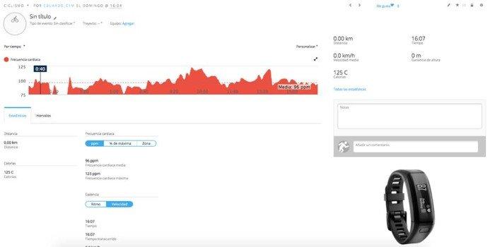 Garmin Vivosmart HR - Actividad ciclismo