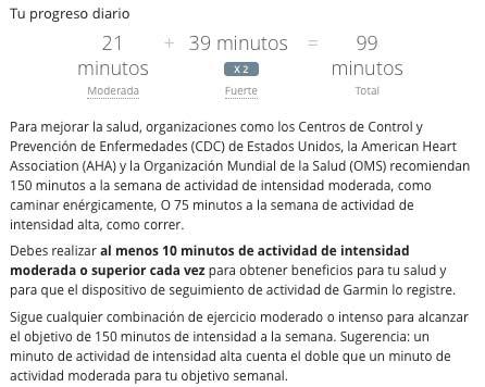 Garmin Vivosmart HR - Minutos de actividad