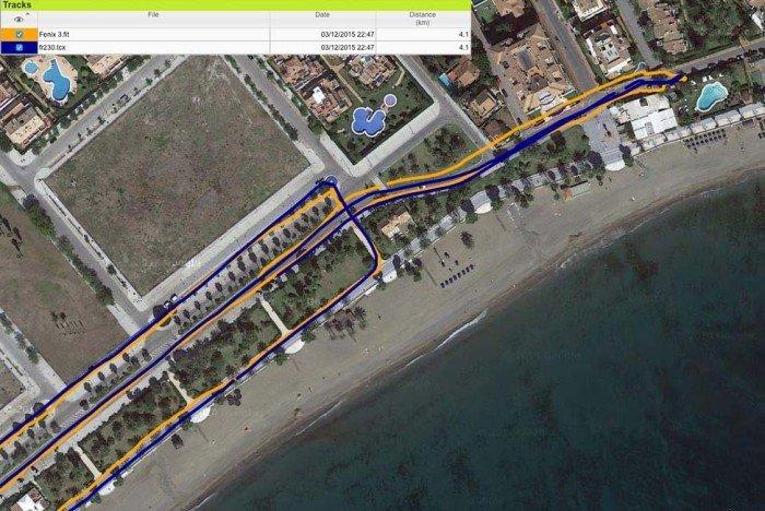 Garmin FR230 FR235 - Comparativa trazados GPS