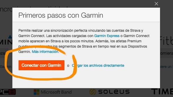 Sincronizar Garmin con Strava