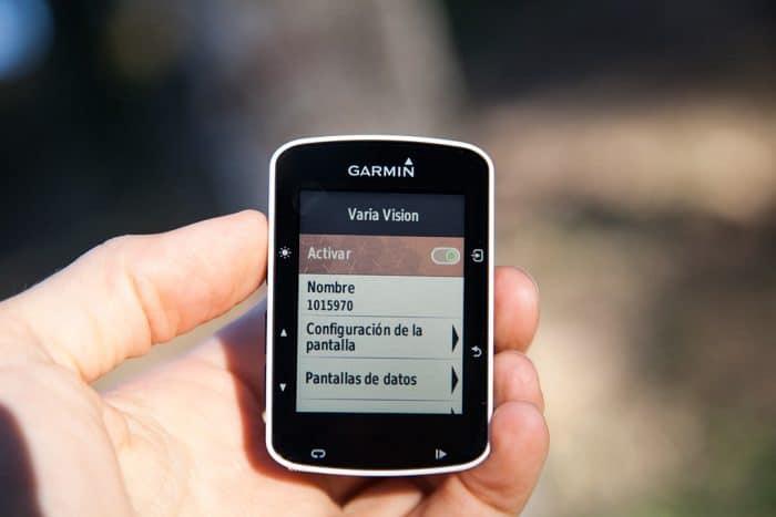 Garmin Varia Vision - Menú sensor
