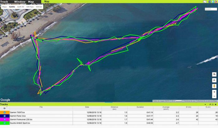 Garmin Forerunner 735XT - Comparativa natación aguas abiertas