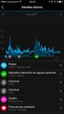 Garmin FR935 - Actividad diaria