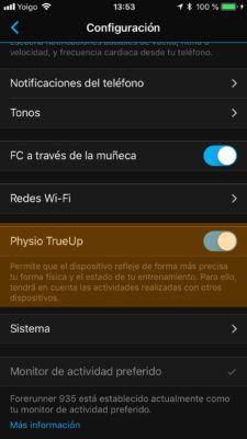 Garmin Physio TrueUp - Garmin Connect App